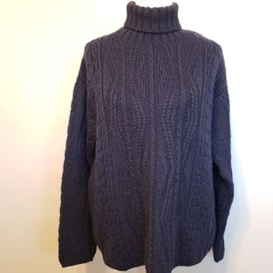 L.L.Bean 100%wool Navy sweater made in Ireland
